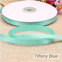 """DDDCM 10mm""""handgemaakte"""" gedrukt polyester lint met letter gedrukt lint for gift verpakking (Kleur : Handmade tiffany blu,..."""