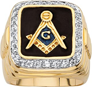 Palm Beach Jewelry Men's 14K Yellow Gold Plated Round Cubic Zirconia and Black Enamel Masonic Ring