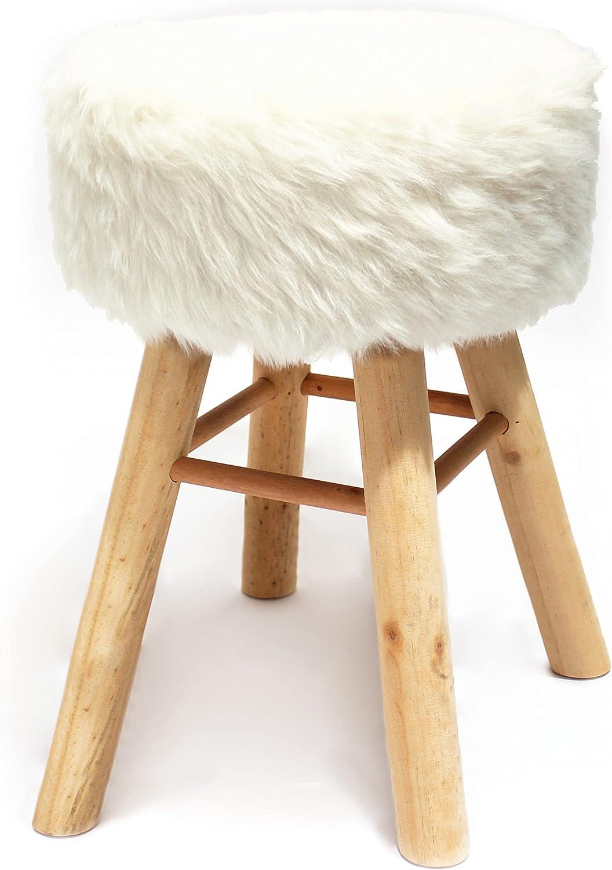 NOOR Handels GmbH Wooden Kitchen Bar Stool with Faux Fur White ...