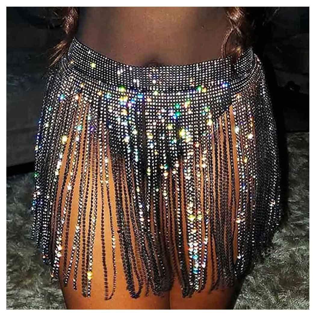 Yokawe Glitter Crystal Short Skirt Black Sparkly Rhinestone Tassel Belly Chain Dance Body Chain Jewelry Accessories for Women and Girls