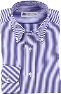 (フェアファクス) FAIRFAX ボタンダウン ネイビー×ホワイトのロンドンストライプ 綿100% 英国 トーマス・メイソン生地使用 (細身) ドレスシャツ b1900