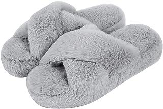 DL Womens-House-Slippers-Memory-Foam, Fluffy Velvet Slip on Scuff Slippers for Women Indoor, Warm Furry Ladies Bedroom Sli...