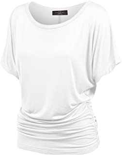 Made By Johnny Women's Solid Short Sleeve Boat Neck V...