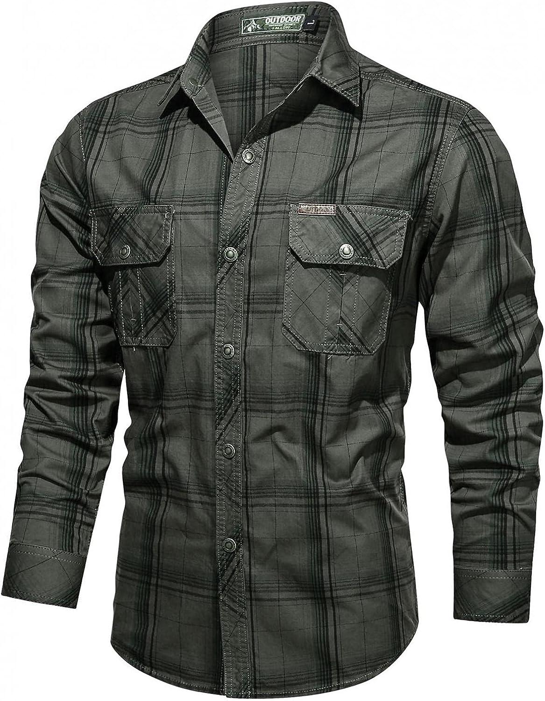 XUNFUN Men's Cotton Long Sleeve Button Down Military Style Cargo Tactical Work Shirts Outdoor Quick Dry Hiking Camping Shirt