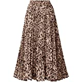 CHARTOU Womens Chic Elastic High Waisted A Line Leopard Print Pleated Shirring Midi-Long Skirt