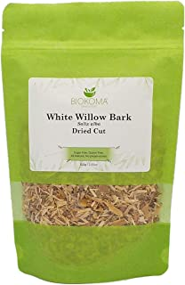 100% Pure and Organic Biokoma White Willow Bark (Salix alba) Dried Cut 100g (3.55oz) in Resealable Moisture Proof Pouch