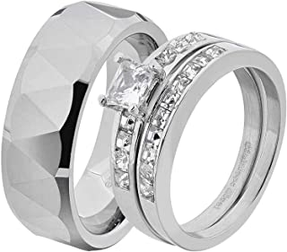 His & Hers Wedding Ring Sets Stainless Steel Princess CZ Triangle Faceted Tungsten Men EC