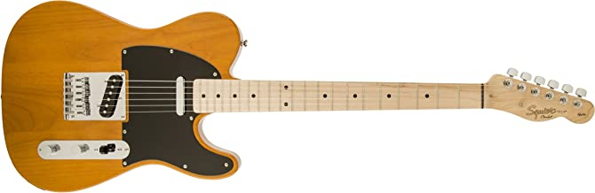 Squier by Fender 6 String Solid-Body Electric Guitar, Right Handed, Butterscotch Blonde (310203550)
