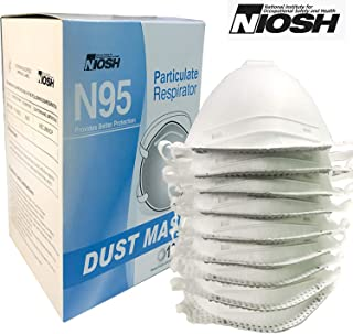 Raytex Disposable Particulate N95 Respirator Dust Mask with Valve-NIOSH-Certified-10 Pack 4-Ply for Allergens, Mowing, Grinding, Sawing, Sanding, Sweeping, Woodworking, Gardening, Dusting, Flour, Iron