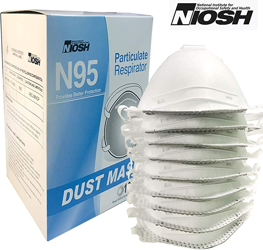 Raytex Disposable Particulate N95 Respirator Dust Mask With Valve NIOSH Certified 10 Pack 4 Ply For Allergens Mowing Grinding Sawing Sanding Sweeping Woodworking Gardening Dusting Flour Iron