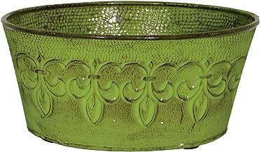 Robert Allen MPT01894 Fluer De Lis Series Metal Bowl Planter Flower Pot, 8