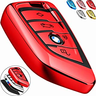 COMPONALL for BMW Key fob Cover, Key Fob Case for BMW 2 5 6 7 Series X1 X2 X3 X5 X6 Premium Soft TPU Anti-dust Full Protection, Red