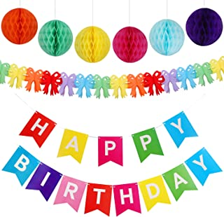 Happy Birthday Banner Bunting with 6 pcs Honeycomb Balls and 1 pcs Garland, Lovely Birthday Decorations Kit for Kids Boys ...