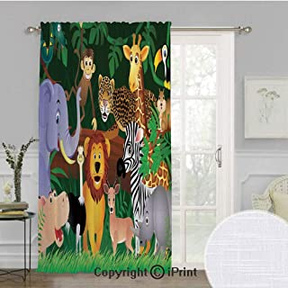 Zoo Extra Wide Chiffon Sheer curtain,Animals in the Jungle Funny Expressions Exotic Comic Cheer Natural Habitat Illustration,for Large Window/Sliding Glass Door/Patio Door,100x96inch,Multicolor