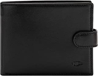Nuvola Pelle Trifold Mens Leather Wallet Elegant with Coin Pocket Snap Closure and ID Window Black