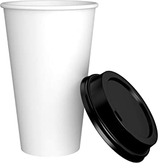 Amazon Brand - Solimo 16oz Paper Hot Cup with Lid, 500 Count