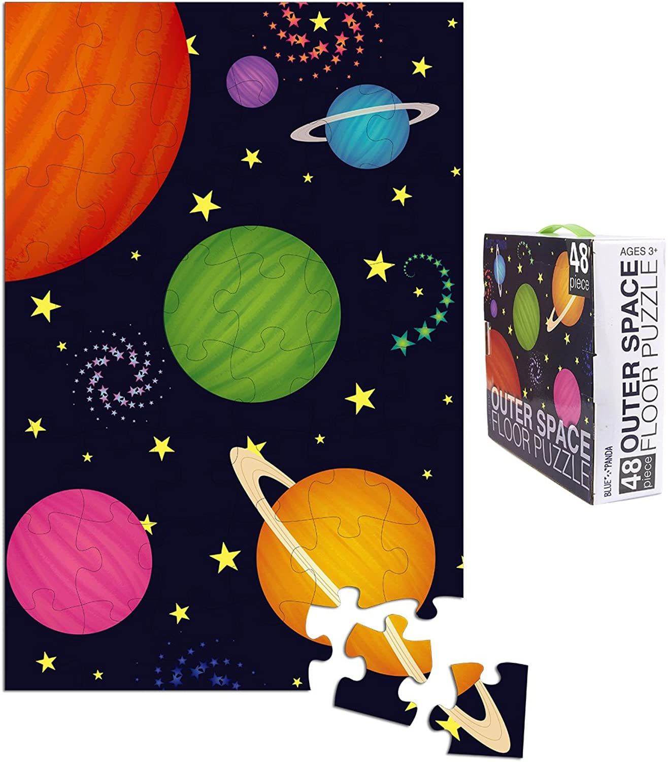 Floor Puzzles – 48 Piece Giant Floor Puzzle, Bugs and Insects Jumbo Preschool Jigsaw Puzzles, Toy Puzzles for Kids Ages 3-5, 1.9 x 2.9 Feet (Outer Space)