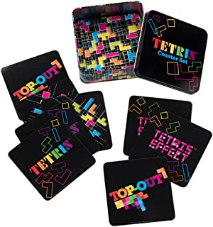 Vandor 77085 TETRIS 10 Piece Coaster Set with Tin Storage Box, Multicolored