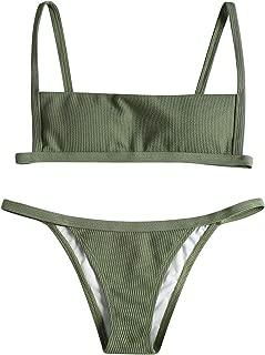StarVnc Women's Ribbed Square Collar Bikini Set Hook String Open Back High Cut Bathing Suit 2 Piece Swimsuit