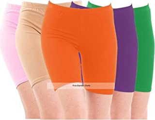 Pixie Biowashed 220 GSM Cotton Lycra Cycling Shorts for Girls/Women/Ladies Combo (Pack of 5) (Baby Pink, Beige, Orange, Green and Purple) - Free Size