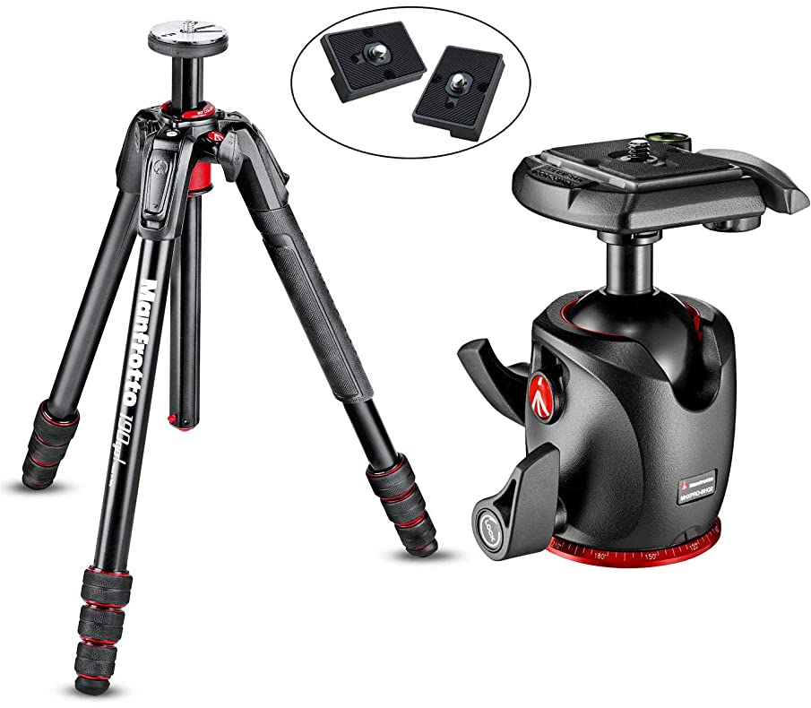 Manfrotto 190Go! 4 Section Compact Travel Tripod with Twist Locks with XPRO Magnesium Ball Head with 2 Quick Release Plates