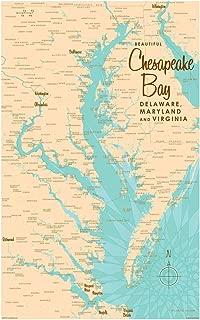 Chesapeake Bay MD Virginia Vintage-Style Map Art Print Poster by Lakebound (12