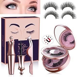 2 Pairs Reusable Magnetic Eyelash and Eyeliner Kit, Upgraded 3D Magnetic Eyelashes Kit With Mirror and Tweezers Inside, Best Magnetic Eyeliner and Magnetic Eyelash Kit - No Glue Needed