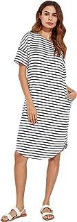Floerns Women's Short Sleeve Drop Shoulder Pocket T Shirt Dress