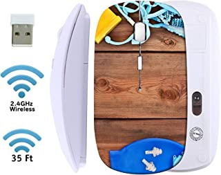 MSD Wireless Mouse 2.4G Travel Mice with USB Receiver, Noiseless and Silent Click with 1000 DPI for Notebook PC Laptop Computer MacBook White Base Goggles Shells Swimsuit on a Wooden Background Set f