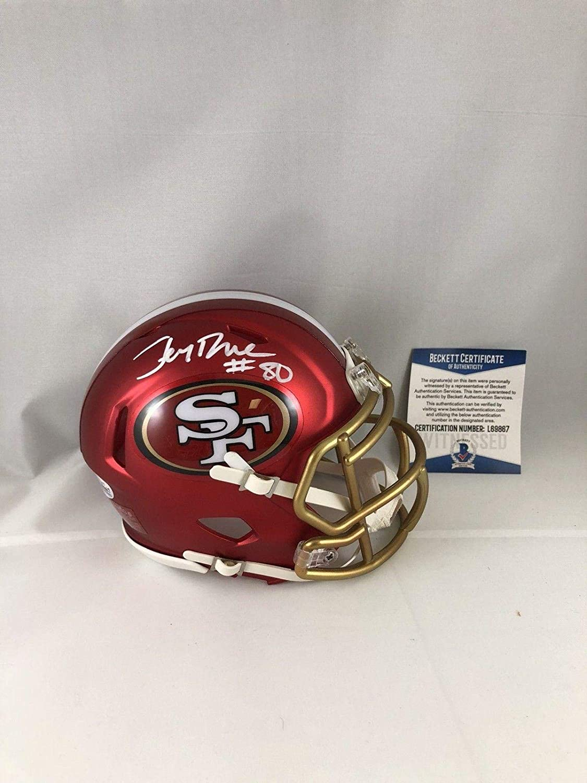 Jerry Rice Autographed Mini Helmet  Blaze Bas Beckett 2  Beckett Authentication  Autographed NFL Mini Helmets