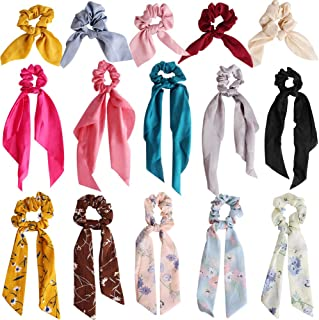 Outee Hair Scrunchies Bowknot 15 Pcs Satin Scarf Hair Scrunchies Chiffon Ribbon Bow Scrunchies Super Soft Satin Hair Ties Bowknot Scrunchies Bowknot Elegant Hair Bands Ponytail Holder for Women