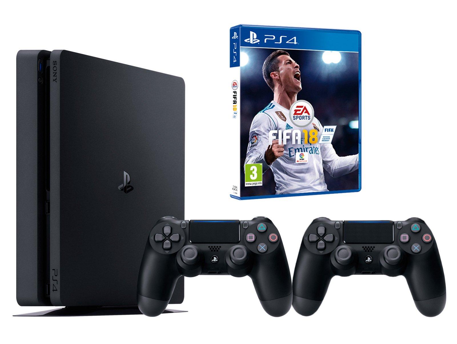 PS4 Slim 500 GB Negro Playstation 4 – FIFA 18 + 2 mandos DualShock 4: Amazon.es: Informática