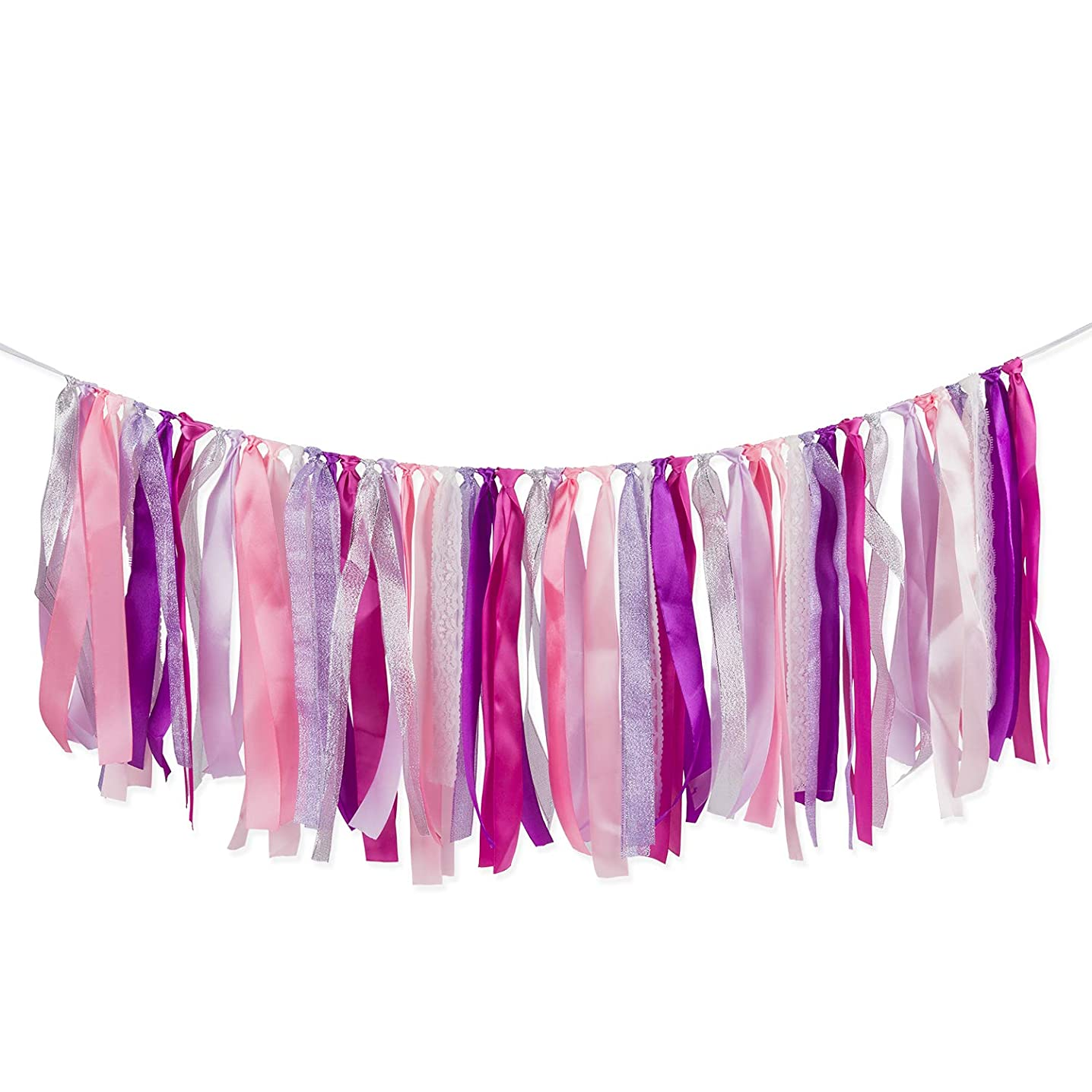 LaRibbons Vibrant Ribbon Tassel Garland - Handmade Fabric Banner Hanging Decor for Wedding Party Supplies - Purple