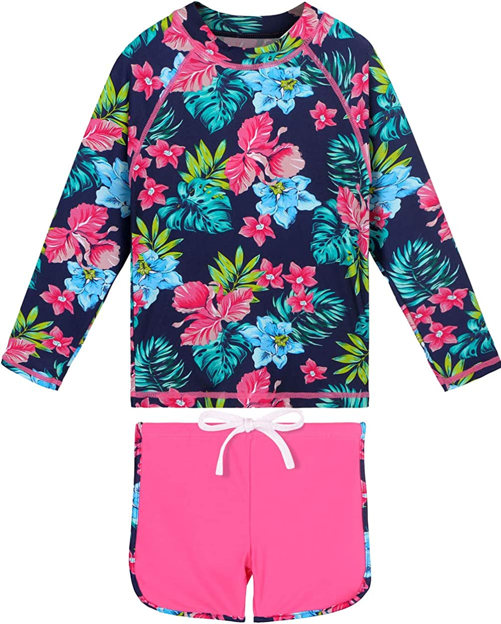 Girls Rash Guard Seattle Mall Don't miss the campaign Long Sleeve Swimsuit Piece Two Prot UPF 50+ Sun