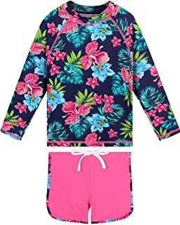 Girls Two Piece Swimsuit Floral UPF 50+ Rash Guard Set Kids Swimwear
