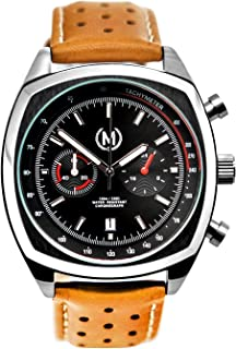 Marchand Classic Driver Chronograph Watch | Racing Chronograph Watch | Retro Watch | British Designed | Chronograph Quartz Movement | Tan Leather Watch Band | Watch for Men | 24 Month Warranty