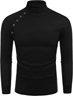 COOFANDY Men's Slim Fit Turtleneck Sweater Knitted Pullover Sweaters with Buttons