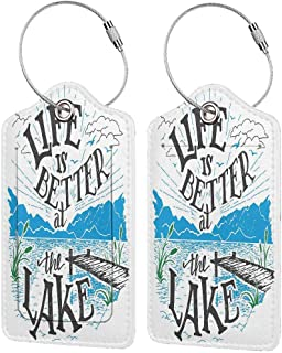 Cabin Decor Queen Size Baggage Tags for Luggage Tags for Kids Life is Better at the Lake Wooden Pier Plants Mountains Outdoors Sketch Soft and comfortableBlue Black Green 4 packs