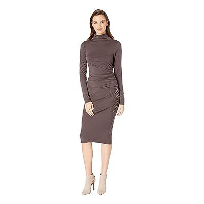 Michael Stars Jules Jersey Long Sleeve Mock Neck Midi Dress (Java) Women