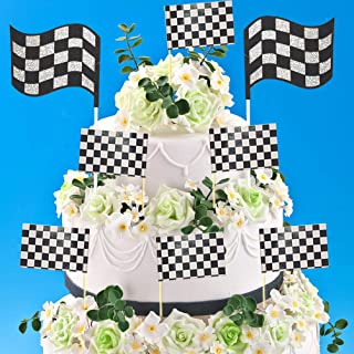 2pcs Glitter Race Car Cake Toppers 24pcs Black & White Checkered Racing Flag Party Cupcake Toppers Picks Food Toothpicks f...