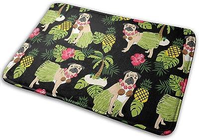 "Pug Hula Tropical Hawaii Islands Dog Breed Dark_19543 Doormat Entrance Mat Floor Mat Rug Indoor/Outdoor/Front Door/Bathroom Mats Rubber Non Slip 23.6"" X 15.8"""