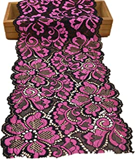 5 Yards Metallic Floral Lace Ribbon Stretch Tulle Lace Trim Elastic Nigerian African Fabric Width 7 Inch for DIY Craft Jewelry Making Clothes Accessories Gift Wrapping Wedding Party Decor (Rose)