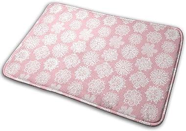 Pink Flower Painting Carpet Non-Slip Welcome Front Doormat Entryway Carpet Washable Outdoor Indoor Mat Room Rug 15.7 X 23.6 i