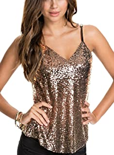 Ofenbuy Womens Sexy Tank Tops Sleeveless Sequin Embellished Sparkle Summer Clubwear Camisole