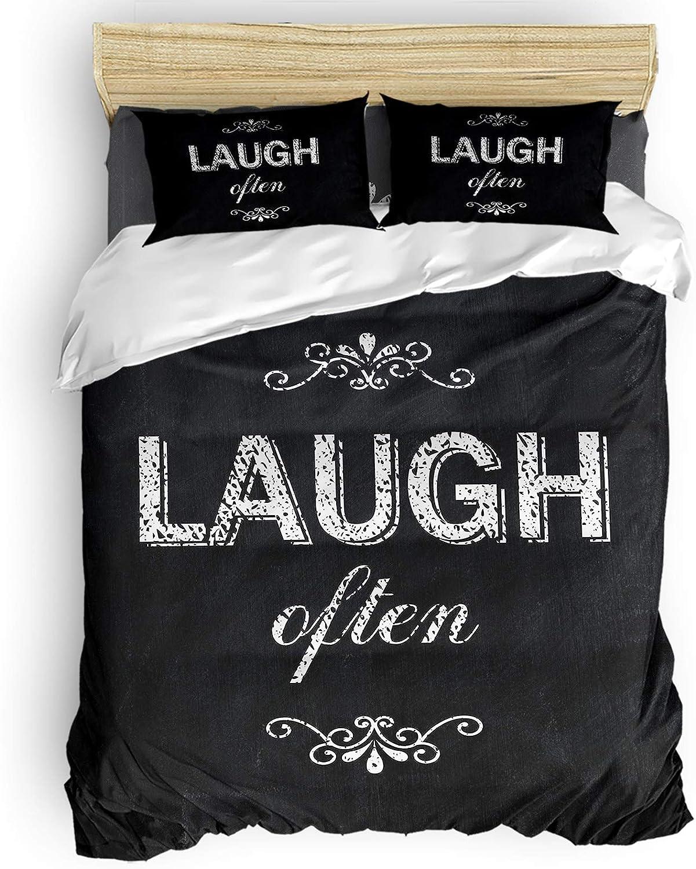 YOKOU Duvet Max 49% OFF Cover Set Twin Cheap sale Size Bl Often Laugh Quotes Positive