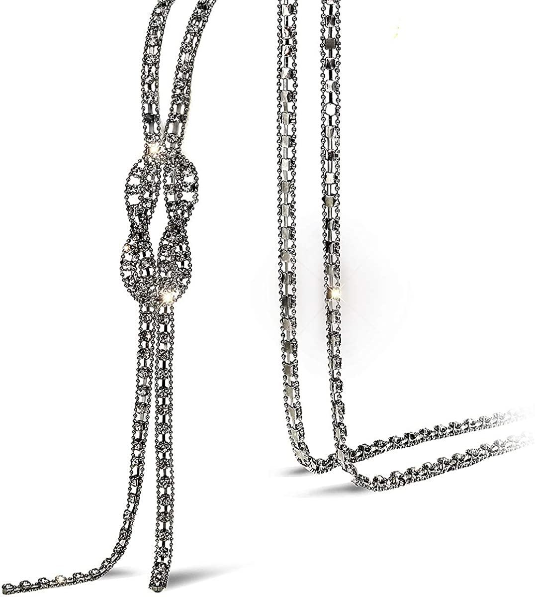 Suyi Trendy Crystal Long Necklace All-Match Style Shining Clothing Sweater Chain