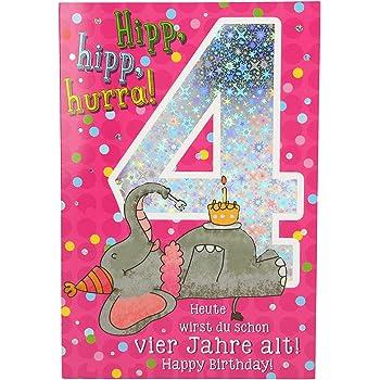 twizler 4. Geburtstag Karte für Mädchen mit vet & Tiere