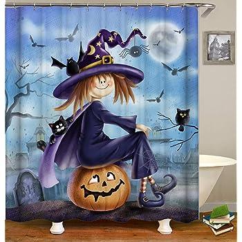 Halloween Pumpkins Dwarf Wizards Cauldron Waterproof Fabric Shower Curtain Set
