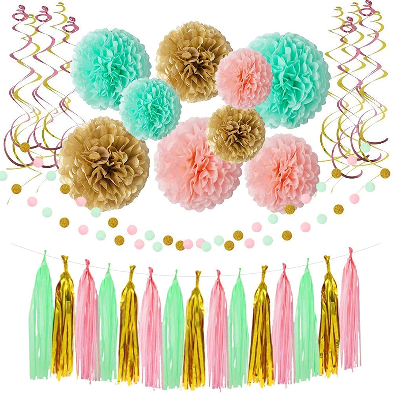 Hangnuo Gender Reveal Mint Pink and Gold Decor for Baby Shower Party with Paper Pom Poms, Tissue Tassel, Dot Garland, Hanging Swirl Banner