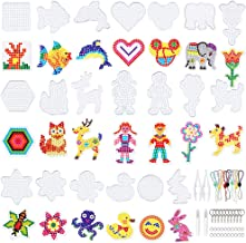 20 Pieces 5mm Fuse Beads Pegboards Clear Plastic Pegboards Craft Tray with 20 Pieces Colorful Cards, 4 Pieces White Beads Tweezers, 10 Keychains, 10 Hang Ropes, 20 Hang Circle for Kids DIY Craft Beads